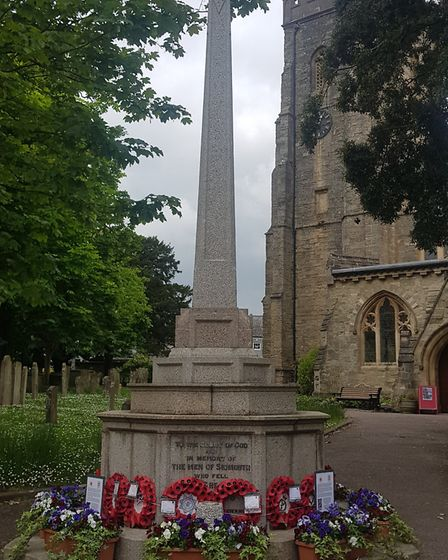 Sidmouth war memorial, ready for VE Day. Picture: Sidmouth In Bloom