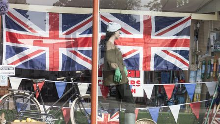 Roberts of Ottery St Mary have dressed their window in readiness for Friday Bank Holiday. In the pre