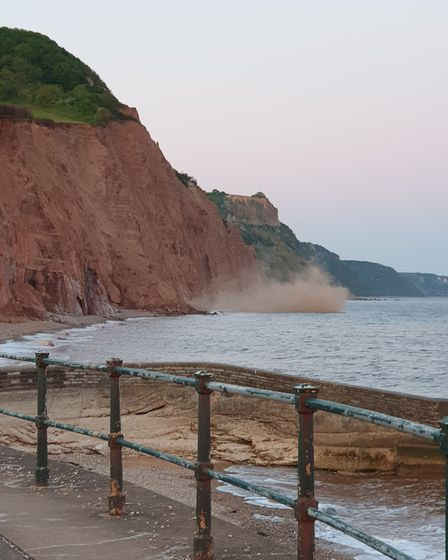 The cliff fall at East Beach. Picture: Emma Hunter