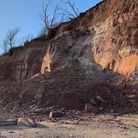A cliff fall at Pennington Point in March this year. Picture: Stuart Hughes