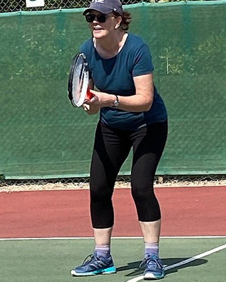 Sidmouth Tennis Club member Mary Bray, back in action at the club following the relaxing of the Coro