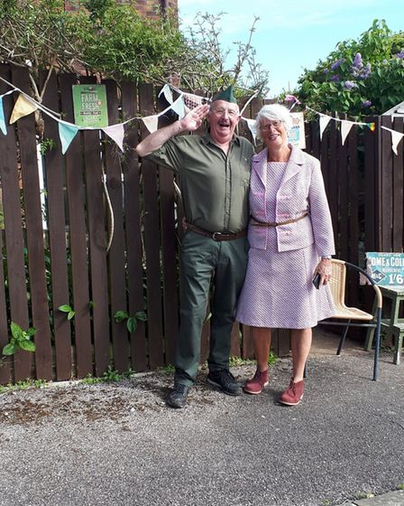 VE Day tea party at Andrew Close, Sidmouth Picture: Virginia Graves
