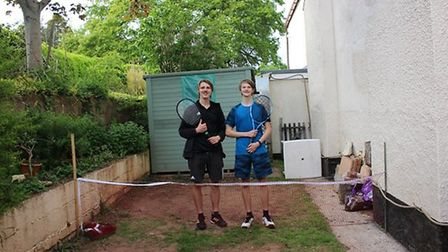 Brothers Greg Shipp and Jed Ionov-Flint in their back garden where they continued to keep up their t