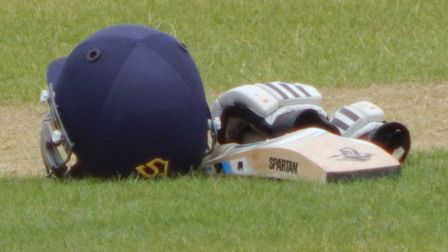 A batsmans gear is left on the wicket during drinks. Picture STEVE BIRLEY