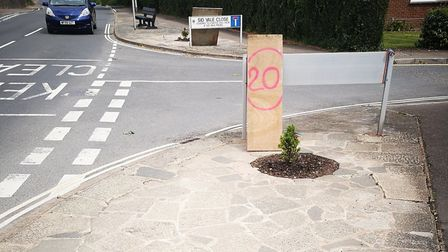 The signs made by residents sick of speeding traffic. Picture: Freddie Shaw