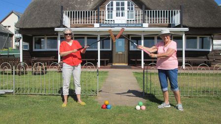 Chistine Bowler and Jane Morrish, who were the last people to play before the Coronavirus pandemic l