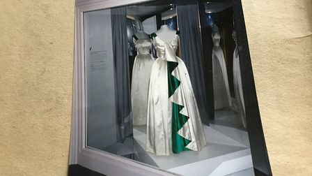 A dress made by Norma Hoare, which the Queen wore during a trip to Pakistan, now on display in a mu