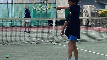 Head coach Sue Wiltshire during a lesson with a junior member at Sidmouth Tennis Club. Picture: STC