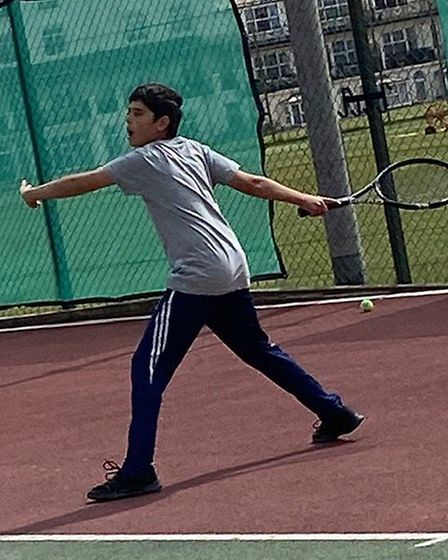 A Sidmouth junior in action during a coaching session at Sidmouth Tennis Club. Picture; STC