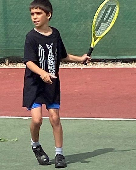 A Sidmouth junior in action during a coaching session at Sidmouth Tennis Club. Picture: STC