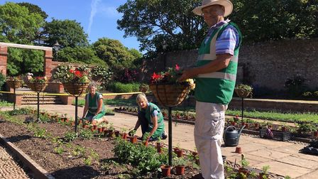 Sidmouth In Bloom volunteers at work in Connaught Gardens. Picture: Lynette Talbot