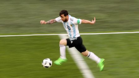 Argentina's Lionel Messi during the FIFA World Cup Group D match against Nigeria at Saint Petersburg