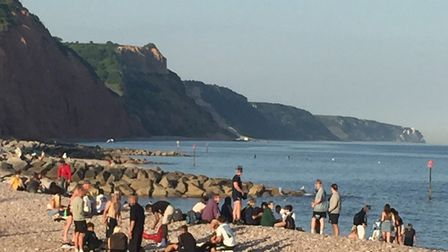 Groups of people gathering on Sidmouth beach over the May bank holiday weekend. Picture: Contributed