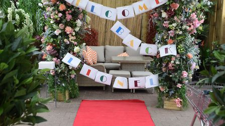 The red carpet and birthday decorations at Otter Garden Centre. Picture; Sue Cade and Tony Seculer