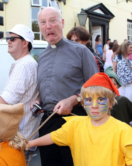 Pixie Day 2014. Revd Steve Weston is kidnapped by the pixies. Picture by Alex Walton. Ref sho 6309-2