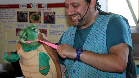 Pixie Day 2014. Children's entertainer Ozzy D and his puppet, Turbo the Tortoise, kept the pixies en