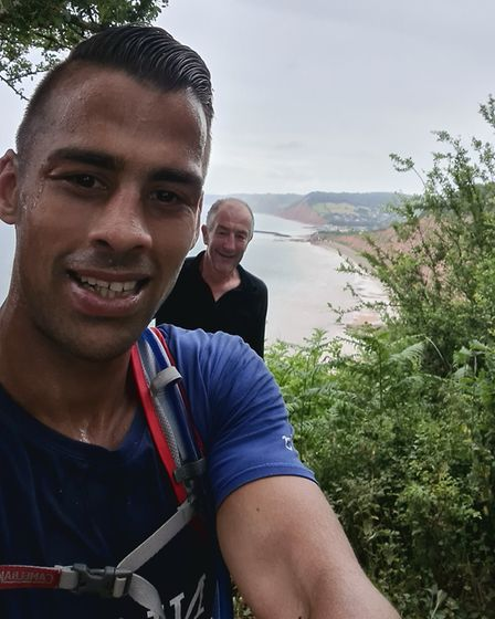 Zaq Bevan with John Keast who ran with him on day 532 of his 60-day running marathon. Picture: ZAC B