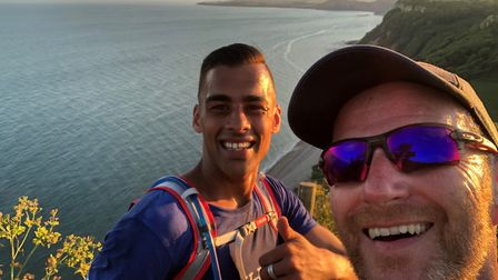 Day 42 for Zac Bevan (left) with MG Martin Trueman on the Jurassic Coastal Path. Picture: SRC