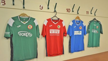 The four Sidmouth Town team shirts hanging in the Manstone Lane dressing room. Now all the Vikings w