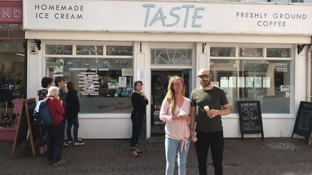 Customers outside Taste icecream and coffee shop. Picture: Maria McCarthy