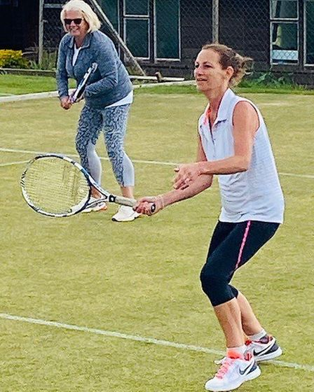 Gill Hodge and Jenny Parry back on the grass. Picture: STC