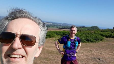 Simon Hollyer (left) and David Wright on the Jurassic Coastal Path before reaching Sidmouth.Picture;