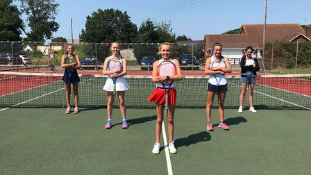 Players who took part in an U-18s South West Girls Box League tournament hosted by Sidford Tennis Cl