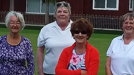 Mary, Elaine, Karen and Chrissie enjoying some Monday bowling action at Sidmouth. Picture; CAROL SMI