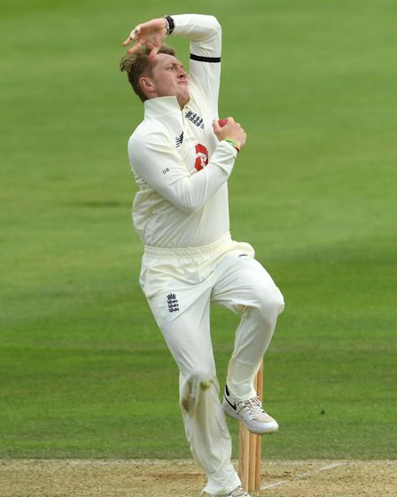 England's Dominic Bess bowls during day two of a warm-up match at the Ageas Bowl