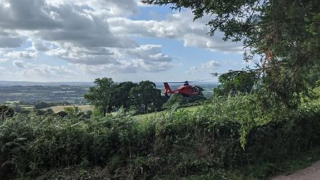 The Devon Air Ambulance helicopter at the scene. Picture: Ottery St Mary Fire Station