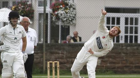 Charlie Miles bowling for Sidmouth at home against Plymouth. Ref shsp 2522-34-15TI. Picture: Terry I