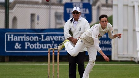 Daley Holmes bowling for Sidmouth 2nds at home to Braunton. Ref shsp 22 18TI 4690. Picture: Terry If