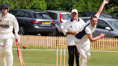 Jody Clements bowling for Ottery against Sidmouth. Ref shsp 25 18TI 5832. Picture: Terry Ife