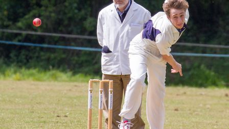Luke Tierney bowling for Ottery 2nds at home to Paington. Ref shsp 20-17TI 3029. Picture: Terry Ife