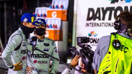 Harry Tinkcnell with a film crew after his success at Daytona. Picture: HARRY TINCKNELL