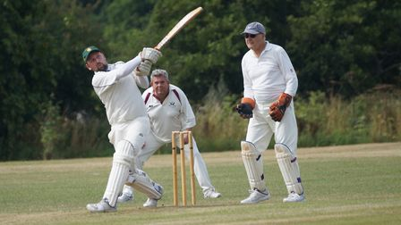 Dave Thayre hits out during his maiden century, scored for Tipton in the win over Geriatrics. Pictur