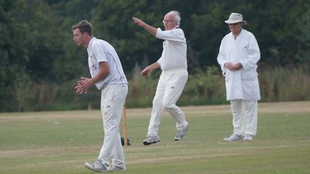 Tipton chairman David Birch bowling during the teams win over Geriatrics. Picture: PHIL WRIGHT