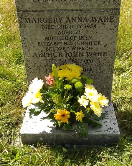 Jenny Ware's mother's grave after she had tidied it up. Picture: Jenny Ware