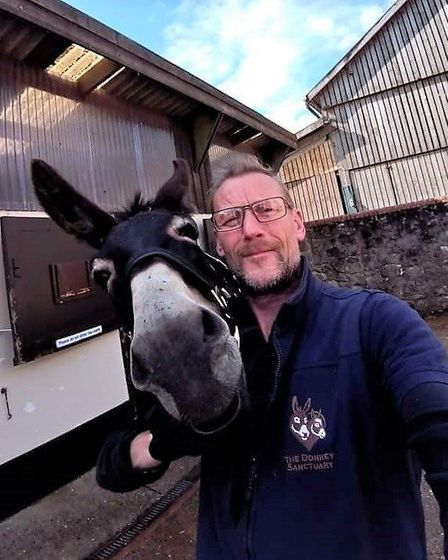 Groom Pete Pile with Ruby. Picture: The Donkey Sanctuary