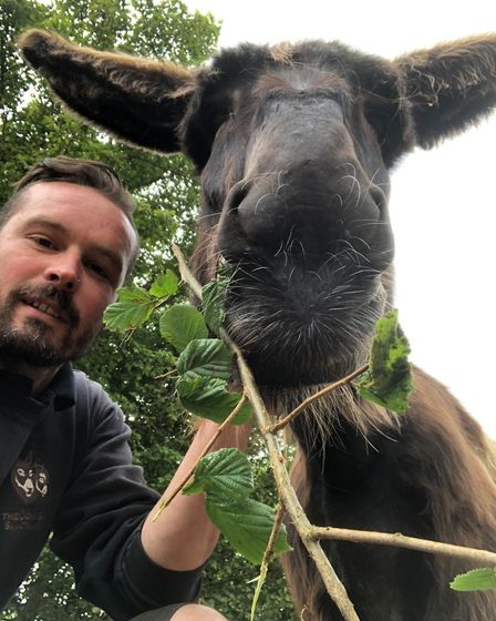 Groom Richard Bailey with Verveine. Picture: The Donkey Sanctuary