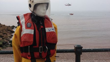Sidmouth Lifeboat mascot Sid, back in place after lockdown. Picture: Brian Taylor