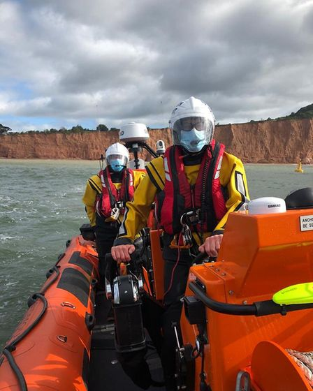 Sidmouth lifeboat crew wearing PPE. Picture: Sidmouth Lifeboat