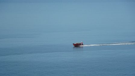 Sidmouth Lifeboat passing Branscombe during at-sea training on Sunday, July 12. Picture: Caron Ru