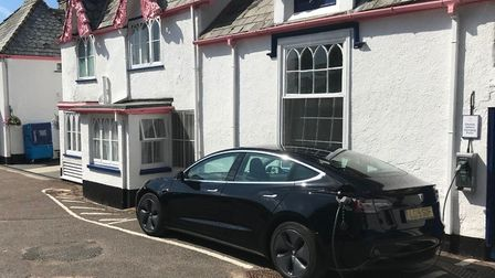 The Woodlands Hotel, with car charging point outside. Picture: Dan Cozens