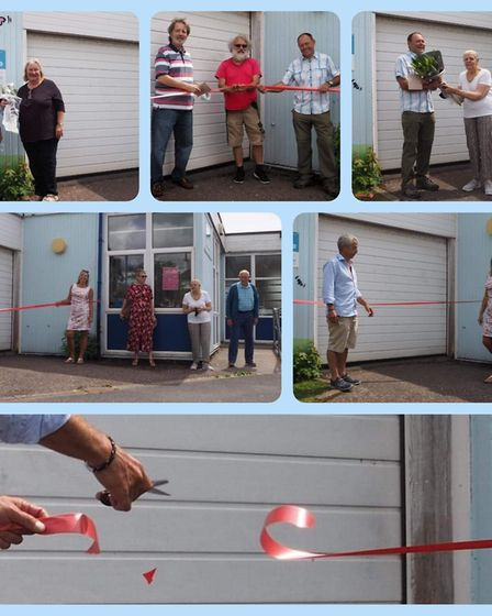 Sid Valley Food Bank opens its new premises: town council chairman Ian Barlow cut the ribbon. Pictur