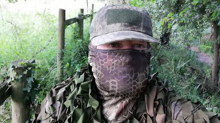 Mark in the camouflage gear he uses to get close to wildlife. Picture: Mark Taylor Hutchinson