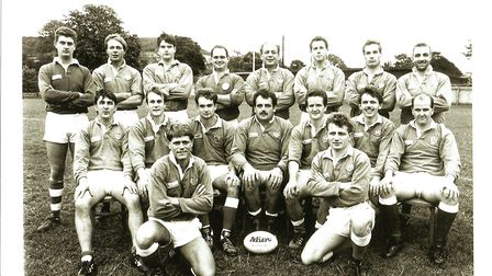 The Sidmouth RFC 1st XV from the 1994-95 season with the team captain, Bob Smith, in the centre. Pic
