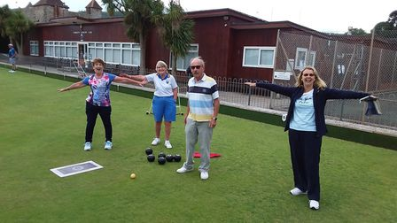karen, maggie, Phil and Carol observing excellent 'social distancing' during the Sidmouth Bowls Club