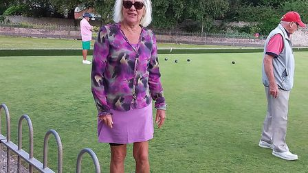 A colourful Janet during the Sidmouth Bowls Club Sunset Umbrella meeting. Picture: CAROL SMITH