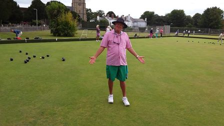 Stewart enjoying himself during the Sidmouth Bowls Club Sunset Umbrella meeting. Picture: CAROL SMIT